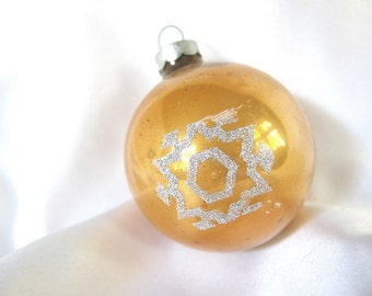 Vintage Gold Christmas Ornament, Silver Glitter Snowflake Holiday Ornament