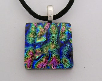 Dichroic glass necklace. Dichroic jewelry. Dichroic pendant.