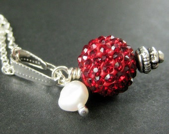 Red Kissing Ball Necklace. Red Necklace. Red Rhinestone Necklace with Fresh Water Pearl. Handmade Jewelry.