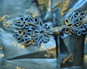 Sky Blue and Gold Brocade Vintage Chinese Robe
