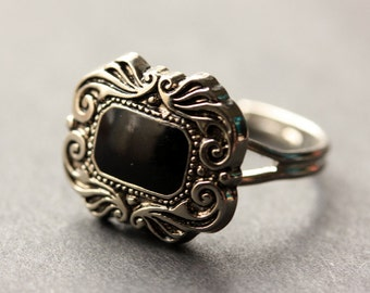 Gothic Ring. Button Ring. Black and Silver Ring. Goth Ring. Adjustable Ring. Black Ring. Handmade Ring. Goth Jewelry. Handmade Jewelry.