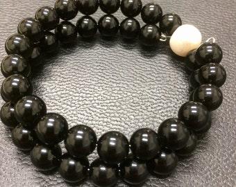 Onyx and Pearl Bangle Bracelet