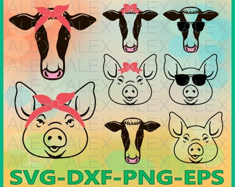 70% OFF, Farm Svg Files, Pig Svg, Cow Svg, Pig with Bandana svg, Cow with Bandana svg, Cow face SVG, Pig face SVG, Dxf, Ai, Eps, Png