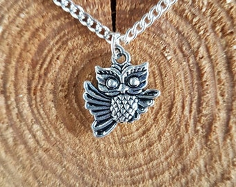 Silver Flying Owl Necklace // Small Owl Necklace