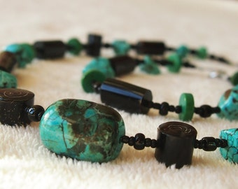 Black Coral Necklace and bracelet set with turquoise JB1