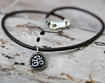 Om Anklet or Bracelet - Dark brown leather & silver - Mens or Womens sizes - free USA shipping - other colors and vegan cotton available