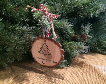 Merry Christmas Tree Wood Slice Ornament, Jute Hanger,christmas decoration,gift tag,rustic,holiday,unique,cabin,country,keepsake,primitive