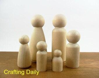 Wood Peg Doll People Family Man Woman Boy (2) Girl Baby Set of 6