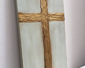 Gold Cross knife painting with heavy texture on canvas, 12x36