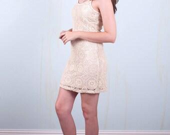 White Crocheted Dress 90's Boho Festival Medium Small