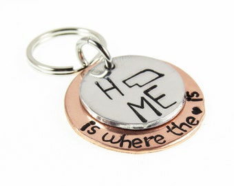 Key Ring State Key Chain - Home is where the heart is - State All 50 States Charm Key chain - Unique Personalized Gift - Handstamped Key Fob