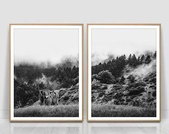 Two piece Woodland Print, set of 2 Landscape Print, 2 Piece Forest Print, Fog, Mist, Misty Forest Print ,Cows Art Print,bull, animals