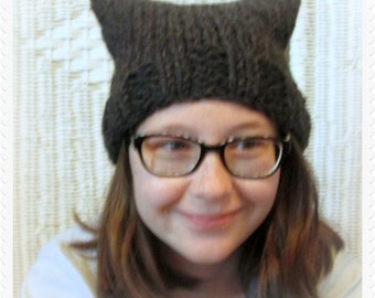 PussyCat Hat, Black Cat Beanie, Kitty Hat, Panther Hat