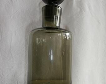 Vintage old bottle / decanter glass smoky black and black cap