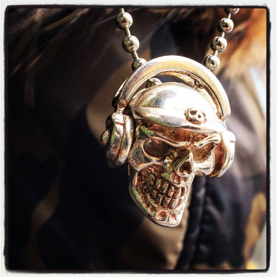 Etherial Jewelry - Rock Chic Talisman Luxury Biker Custom Handmade Artisan Pure Sterling Silver .925 Bespoke Handcrafted DJ Skull Pendant