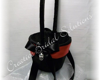 Gothic Black and Red Halloween Skull Wedding Flower Girl Basket- Romona, Goth Wedding