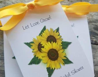 Beautiful Personalized Sunflower Trio  Bridal Shower Wedding Shower Birthday Anniversary Sunflowers Seeds Party Favors Seed Packets