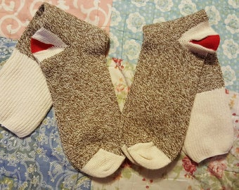 Sale! 2 pairs of new red heal socks, for sock monkey,