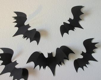 3D bats, wall bats, paper wall art bat silhouettes, 5 large 3D bats