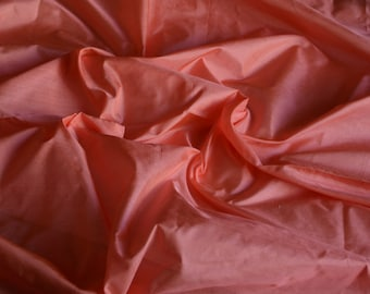 Fine Indian Silk Taffeta in  peach colour, firecracker flower colour-  fat quarter -TF 100