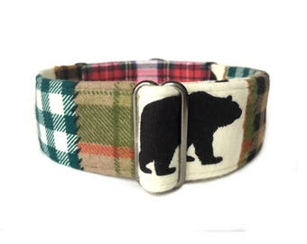 Bear Camp Flannel Martingale Dog Collar or Buckle Collar, Rustic Woodland Animal and Red, Tan, Green Patchwork Plaid Flannel Collar