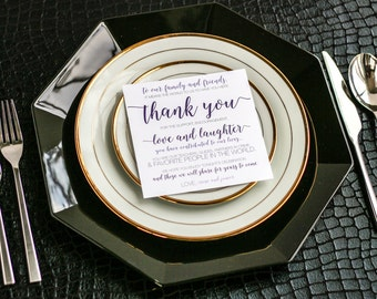 """Purple and Grey Thank Yous, Thank You Place Card, Table Sign - """"Whimsical Calligraphy"""" Reception Thank You Sign 5.25x5.25 - DEPOSIT"""