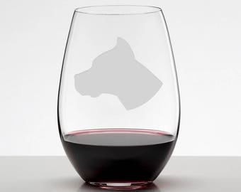 Pit Bull Cropped Ears, Pit Bull Wine Glass, Pit Bull Glass, Pibble Etched Stemless Wineglass