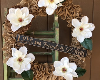Magnolia Elegance Wreath   Shabby Chic  Burlap Wreath  Front Door Wreath   White Magnolia Summer Wreath  Wreath for Front Door