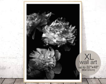 Peony Art, Black and White Photography, Peony Print, Floral Print, Peony Bouquet, Flower Printable, Black and White Poster, Large Wall Art
