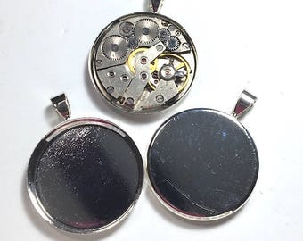 1 piece 25mm Silver Cabochon Pendant Tray Blanks
