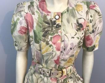 Vintage Floral Belted  80s Dress.