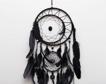 Large Black dreamcatcher, Large Dream Catcher, Black Dream Catcher, Boho dreamcatcher, Heavenly dream, Black, White, wooden frame, feathers