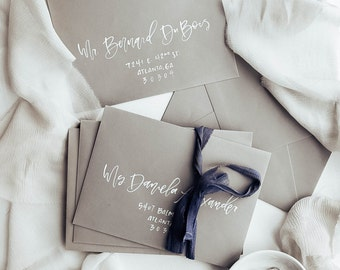 Grey and White Wedding Envelope Calligraphy, Wedding Envelopes, Gray Wedding Envelopes, Wedding Calligraphy