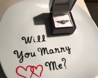 Will You Marry Me, Marriage Proposal Plate, Marriage Proposal, Engagement, Dessert Proposal, Engagement Ideas, Anniversary Gift, Engagement