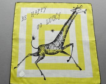 Be Happy Go Lucky - Vintage Swiss Stoffels Vintage Novelty Cotton Hankie Handkerchief Unused with Tag