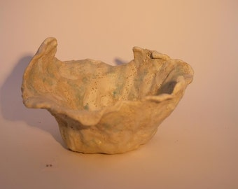 Enchanting Sea Form Bowl. A free form pottery art object evoking meditation and mindfulness, conjuring images from the sea.