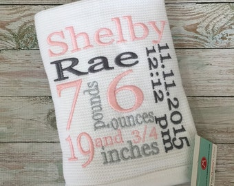 Personalized BIRTH STATS Baby BLANKET,(30x40)