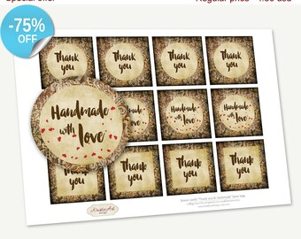 "75% OFF SALE Printable Favor Tags ""Thank you&Handmade"" Brown Swirls, Printable Thank You Tag, Cupcake Toppers, Printable Supplies, Stickers"