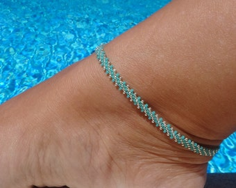Anklet, ankle bracelet, Light Teal Green and Silver Anklet, Diagonal Daisy Chain Ankle Bracelet, Seed Bead Anklet, Beach Anklet,