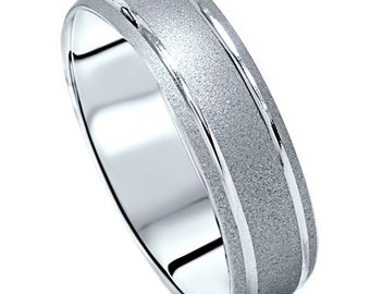 Brushed Handmade 10k White Gold Mens Wedding Band Ring