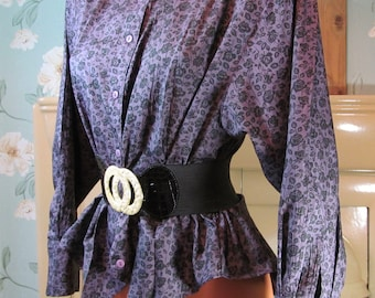 Vintage Trend Fashion purple and black floral soft noisy taffeta feel polyester fitted blouse top jacket L R11389