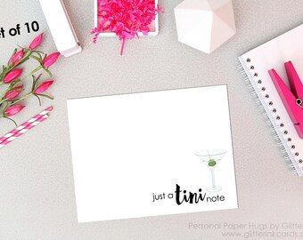 Set of 10 Blank Note Cards -Just a tiny note - Adult Note Cards - Adult Stationery - Martini card