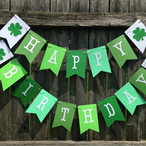 irish birthday banner  st patricks day birthday banner  green