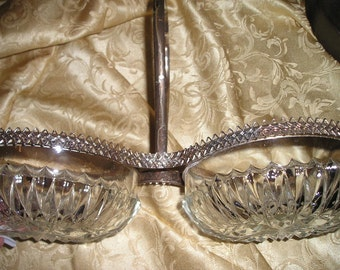 Vintage Beautiful English Crystal /Silverplate Server Handled Bowls Candy Dishes Chic Table Wear.