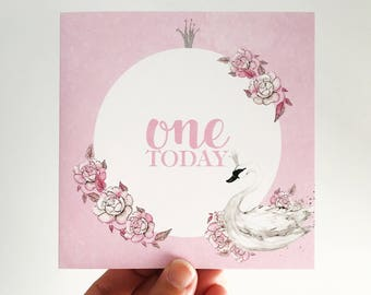 Swan One Today Birthday Card