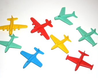 "Vintage 1960-70's Plastic 2 1/2"" Long JET PLANES Lot of 8"