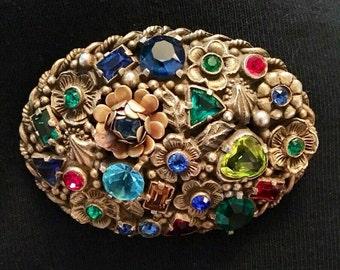 Rhinestone Encrusted Oval Brooch / Pin