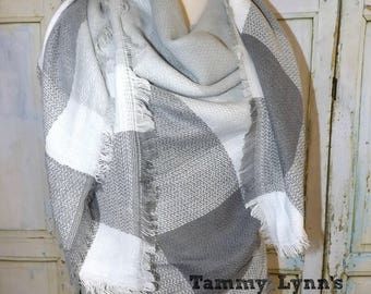 Gray and White Fringed Square Blanket Scarf Fall Winter Christmas Women's Accessories
