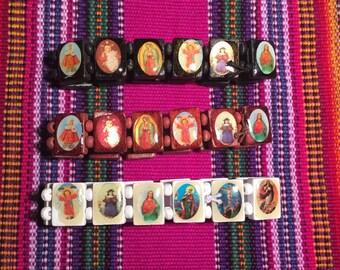 """Catholic Saints wooden bracelet *Free Shipping* (size 6""""- 7"""")"""