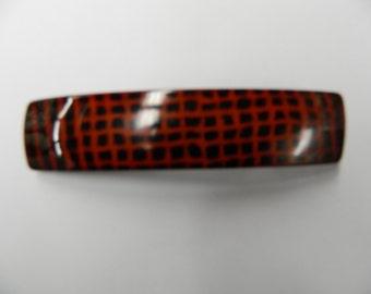 Vintage red and black patterned hair barrette clip